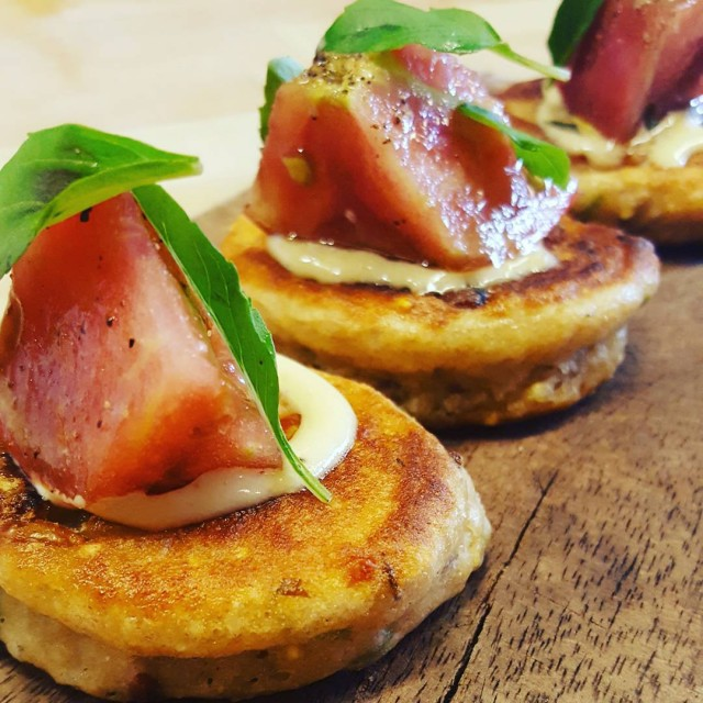 Heirloom tomato pancakes are back for summer! Featuring cheddar andhellip