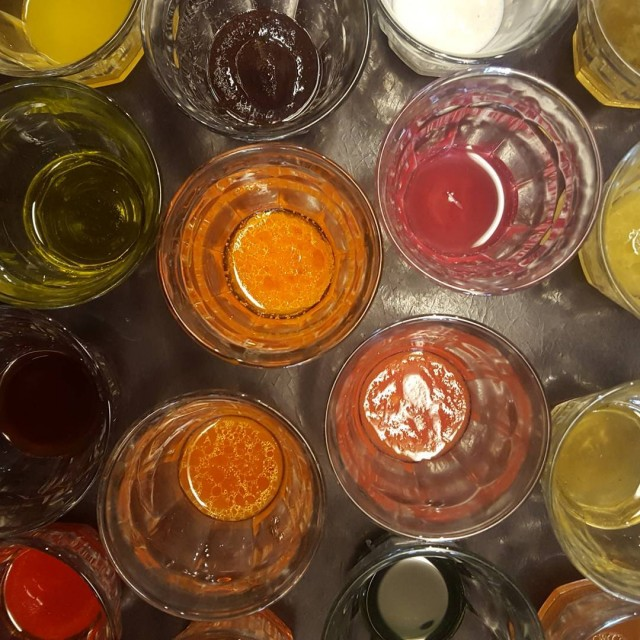 Vinaigrette tasting for our service staff today rainbowofflavor saucy