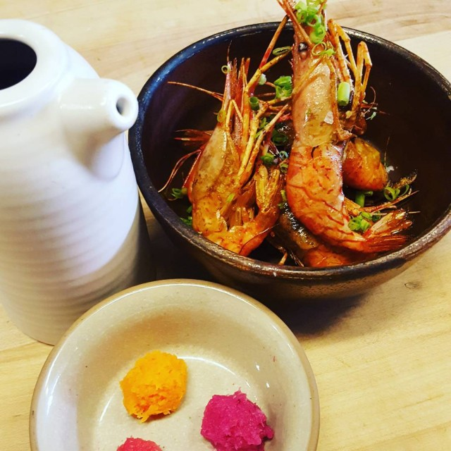 Fort Bragg Coonstripe shrimp served with oroshi trio and meyerhellip
