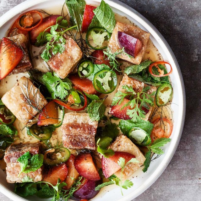 A timeless statebirdprovisions dish since 2012 Crispy pork belly saladhellip