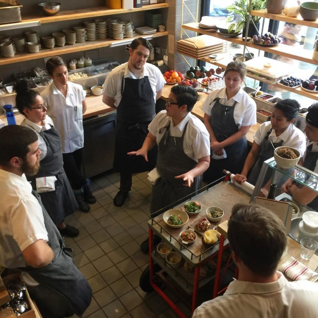 Chef Gaby leading preservice with the awesome kitchen team statebirdprovisions