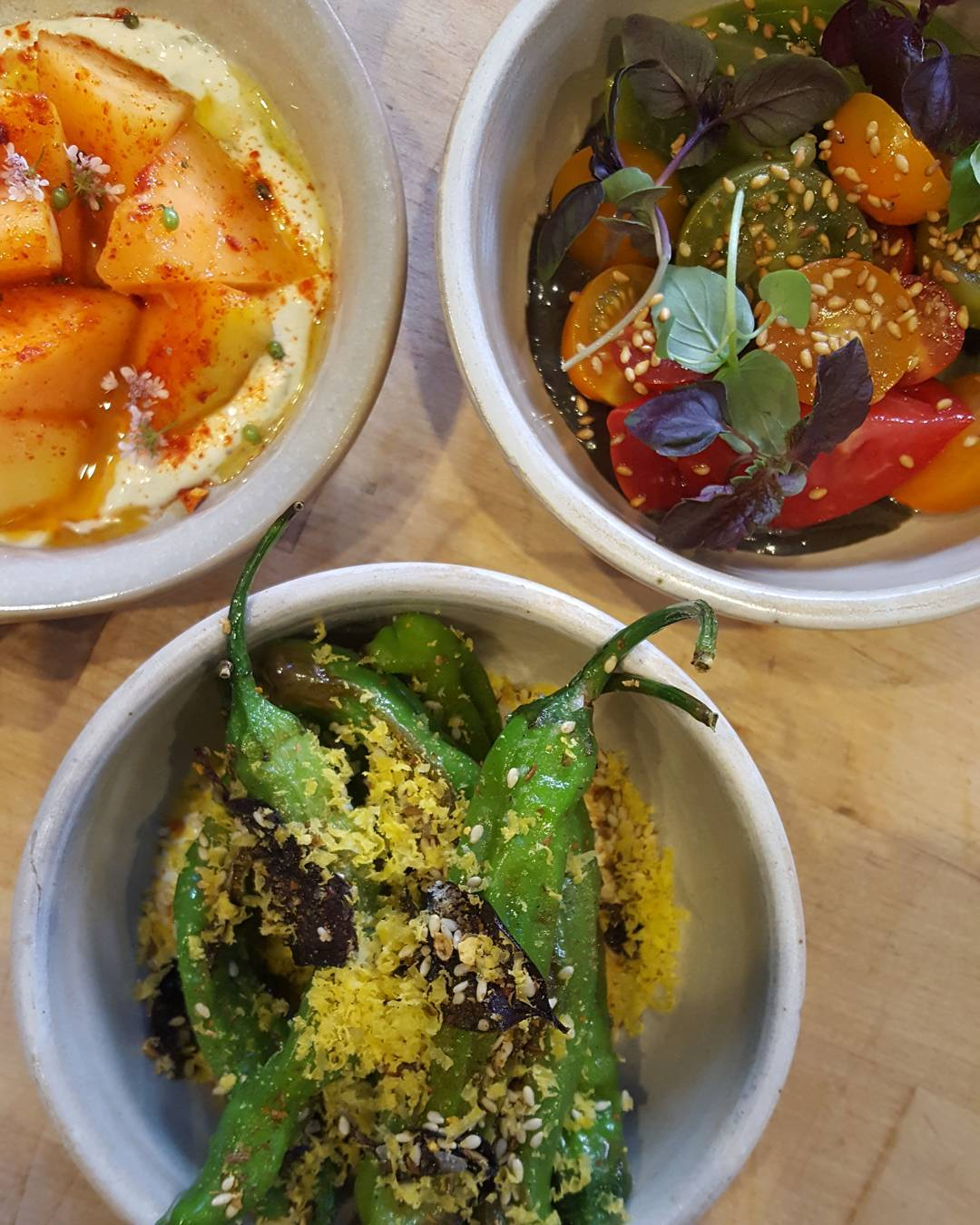 Stunning summer provisions melons and crme frache shishitos with goathellip