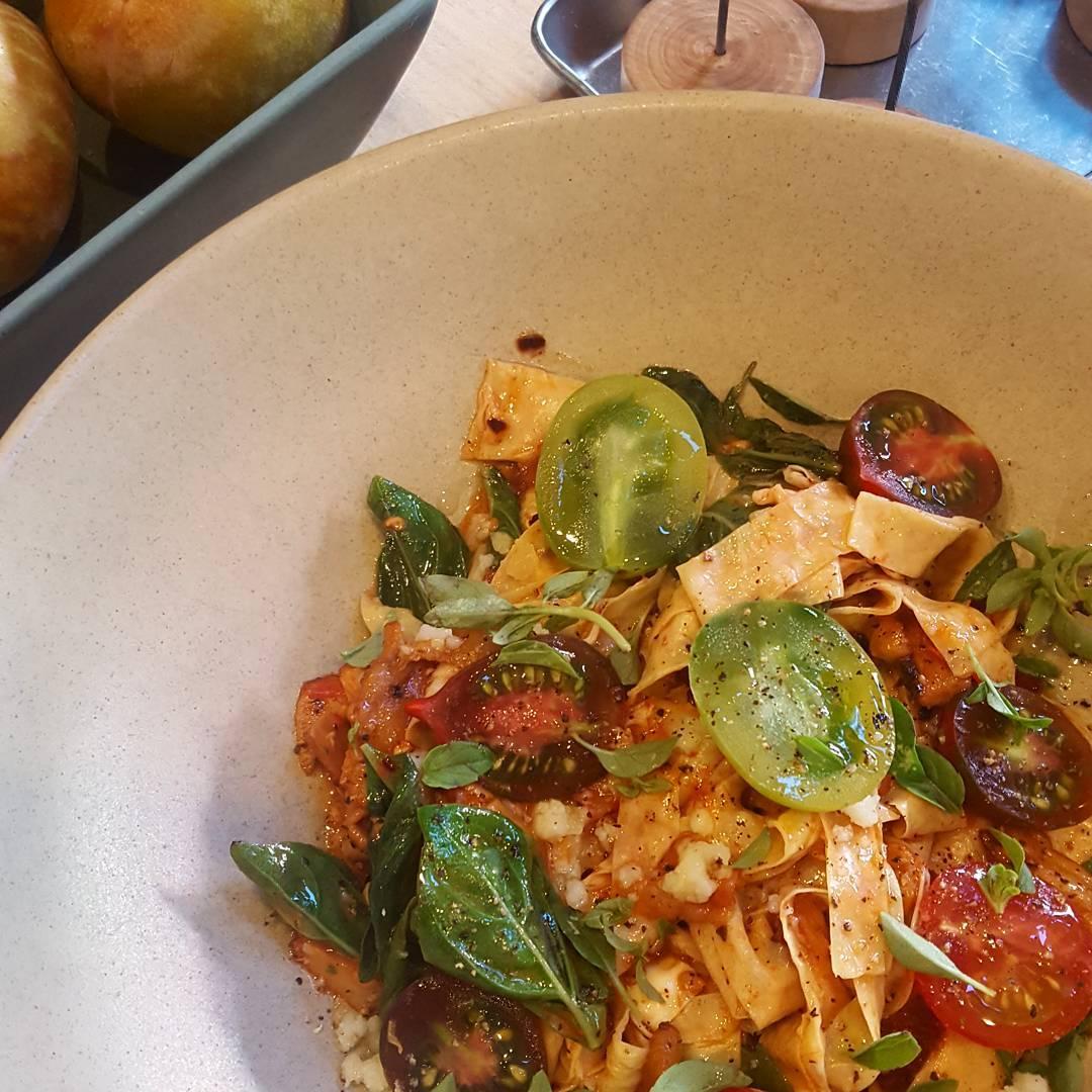 hodosoy yuba allamatriciana Tofu skin pasta with chanterelle mushrooms tomatohellip